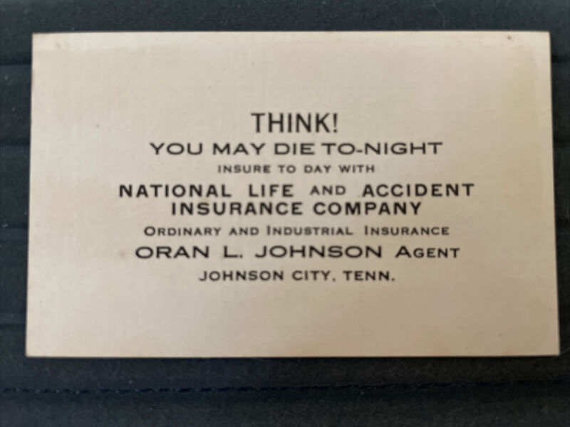 Antique Business Card, THINK! You May Die Tonight, National Life Insurance