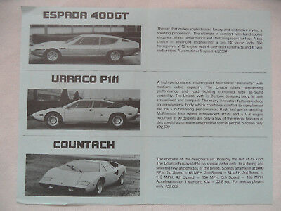 Prospekt brochure Faltblatt LAMBORGHINI Espda 400GT Urraco P111 Countach SR918