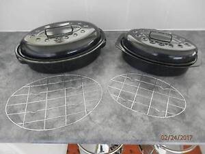 2 OVAL BLACK ENAMEL ROASTING PANS WITH RACK AND LID Mount Colah Hornsby Area Preview