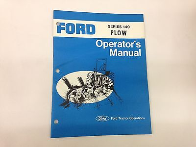 Ford Fordson Tractor Series 140 Plow Operators Manual