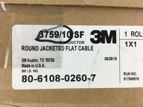 3759/10SF Conductor Round Jacketed Flat Cable 3M 28 AWG STR 100 ft 80-6108-0260-