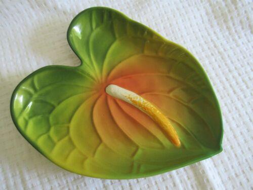 Vtg Large TROPICAL CLAY HAWAII  ANTHURIUM PLATTER plate Hawaiian Hula Girl Tiki
