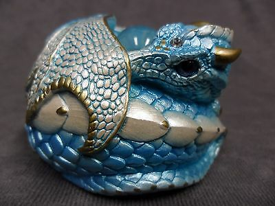 Windstone Editions * Aquamarine Curled Dragon * Fantasy Figurine Statue Magical