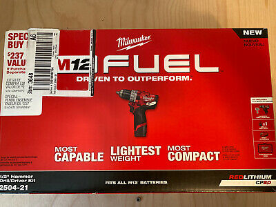Milwaukee 2504-21 M12 Fuel 12-volt Cordless 12 Hammer Drilldriver Kit