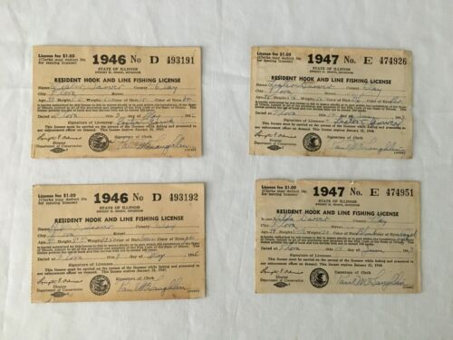 VTG LOT OF 4 1946-47 STATE OF ILLINOIS RESIDENT HOOK AND LINE FISHING LICENSE