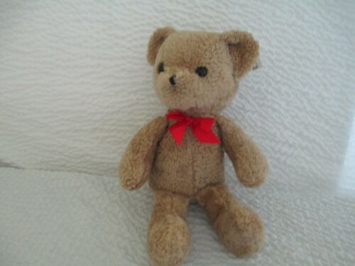 "PBS Tag Along Soft 17"" Tan Raggle Bear Super Cute Wearing A Red Bow"