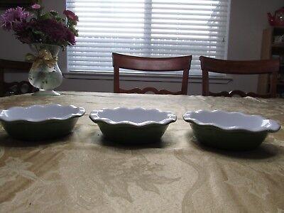 Emile Henry green white mini pie baking dish  5 1/2