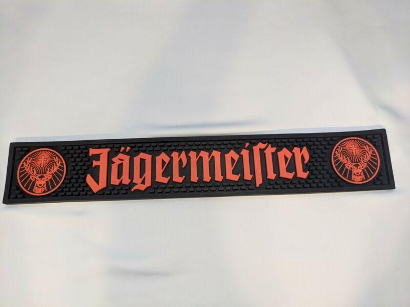 "Jagermeister Black & Orange Rubber Bar Rail Runner Spill Mat 20-1/2 "" x 3-1/4"""