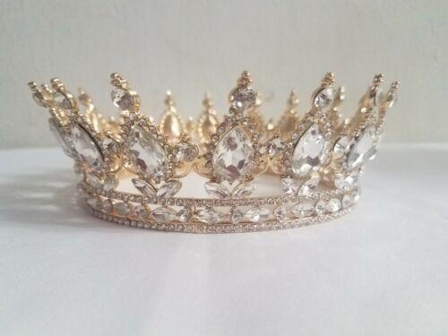 NEW Wedding Quinceanera Crystal Rhinestone Queen Princess Gold Tiara Crown