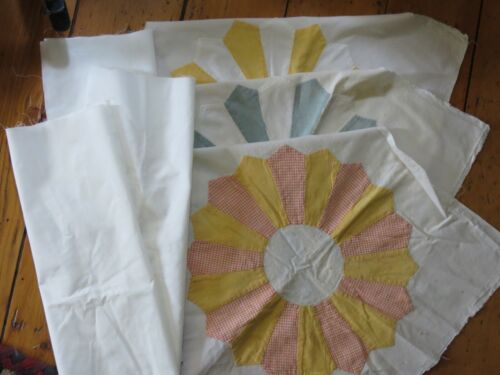 """Vintage Dresden Plate Quilt Blocks Lot of 3 with Pillow Backing 16"""""""