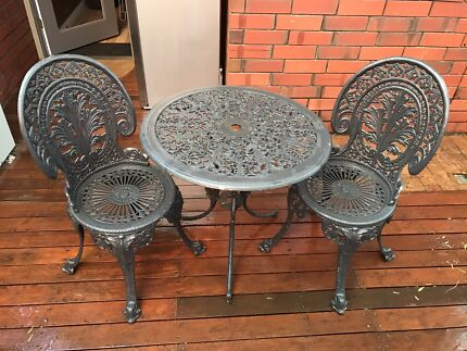 3pc Outdoor Cast Iron Table & Chair Setting