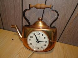 Vintage Antique GE General Electric Tea Kettle Shaped Wall Clock - Working