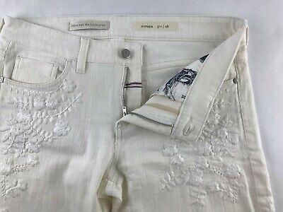 Anthropologie Pilcro Hypen Mid Rise Embroidered Jeans Size 28 White/Cream Denim