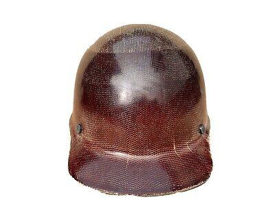 Vintage Msa Fiber Glass Hard Hat With Suspension Brown Fiberglass