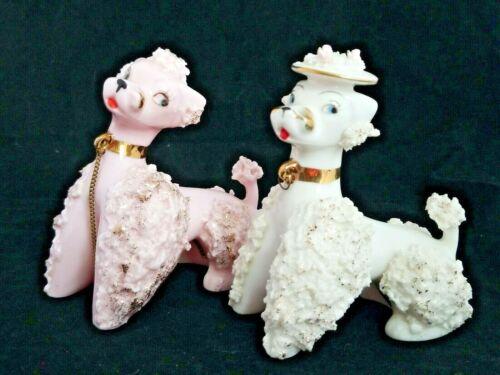 Vintage Atlas Spaghetti Trim Pair of Poodles Pink White Japan