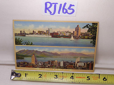 VINTAGE 1930'S POSTCARD LINEN STAMP VANCOUVER BC CANADA CITY-WATER-SAILBOAT