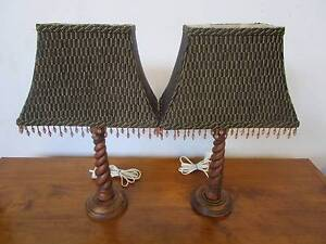 D5046 Lovely Pair Barley Twist Timber Lamps w/ Beaded Shades Mount Barker Mount Barker Area Preview