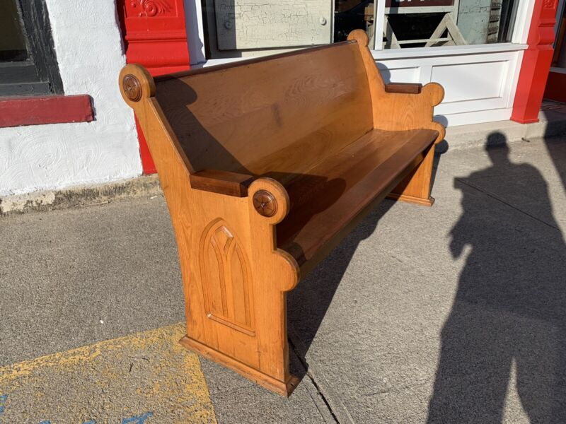 Beautiful Antique Ash Walnut Church Pew 60""