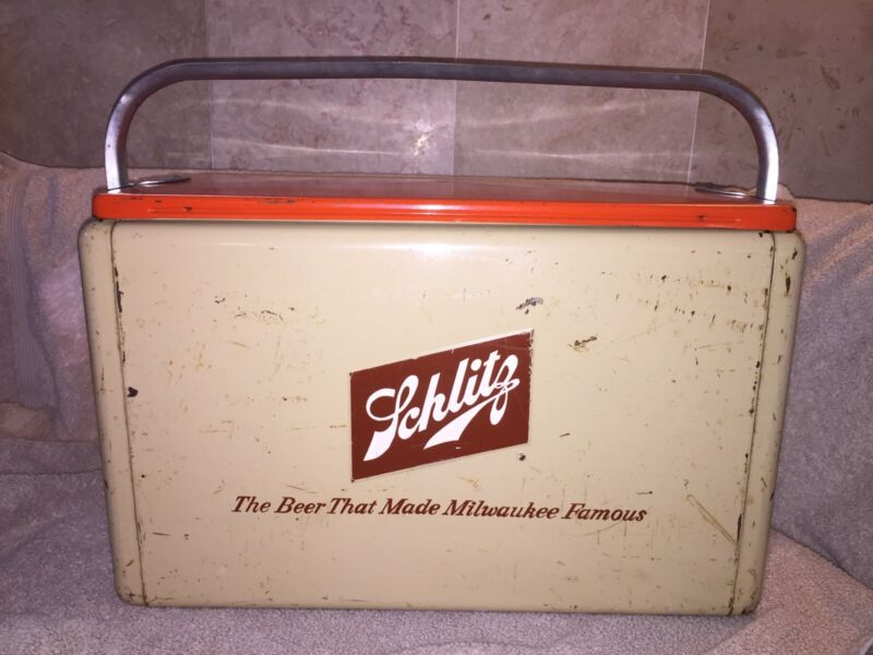 Vintage Rare Complete Schlitz Beer Metal Picnic Cooler Milwaukee Cronstroms MN