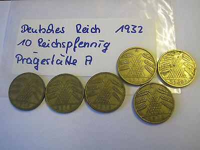 6x Weimarer Republik 10 Reichspfennig 1932 A    #2283