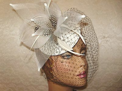 FASCINATOR HAT Ladies Cocktail WHITE BLACK Derby Acrylic  Hats