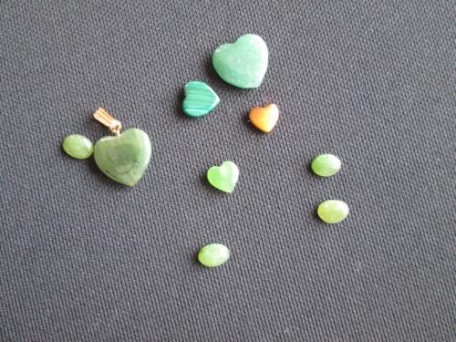 Lot Of Natural Loose Gemstone 25 Carats Hearts Jade Malachite Pendant