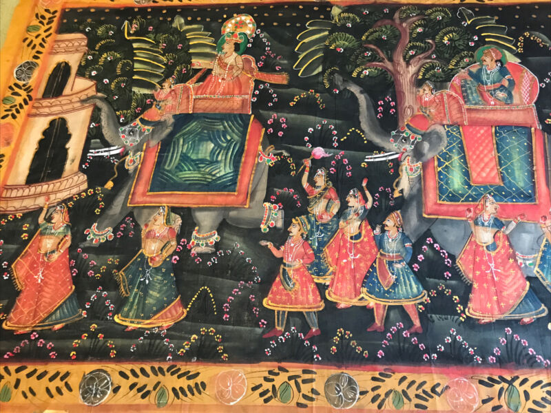 """Vintage India Painted Cloth Hand painted 47""""X 32"""" Traveler& Elephants  Aggarwal"""
