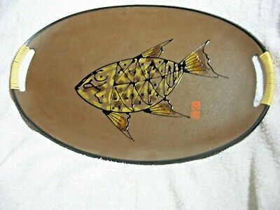 VINTAGE UNUSUAL HAND PAINTED CHINESE FISH TWO HANDLED OVAL TRAY