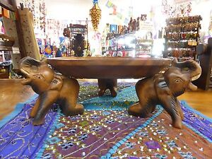 Hand Carved Timber Wooden Elephant Dish Plate Tray 30cm Diameter Hand Made