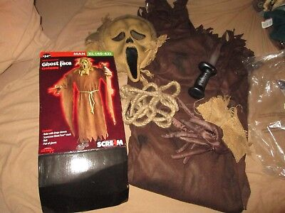 GHOST FACE Bonus BLOODY KNIFE Adult Scarecrow Halloween Costume Man XL 40-42 NEW - Adult Scarecrow Costumes