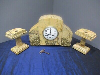 French Antique Marble Bracket Clock Garniture Clock Set Art Deco Needs Service