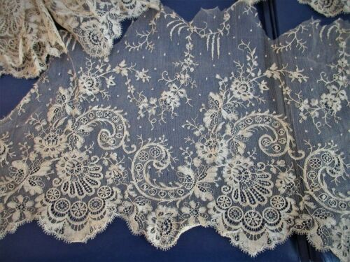 antique,french,lace,SALVAGED FROM ANTIQUE WEDDING DRESS,2 large pieces,+ sleeves