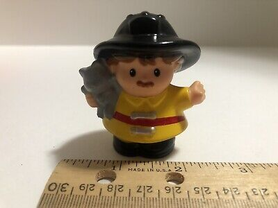 Fisher Price Little People Firefighter with Cat 2009 Yellow Gear Fireman