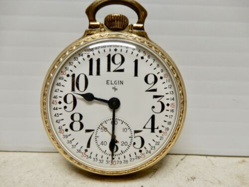 ANTIQUE ELGIN RAILROAD POCKET WATCH GOLD FILLED CASE 574 MOVEMENT