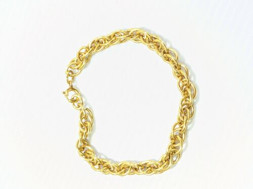 Vintage 1/20 12k Yellow Gold Filled Double Round Chain Link Bracelet 7 Inches