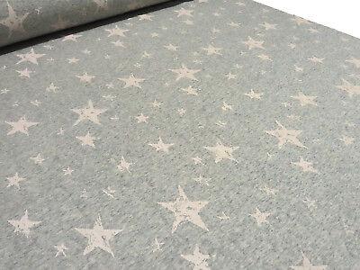 Stoff Sweatshirtstoff mit Alpenfleece Sterne grau melange beige sand