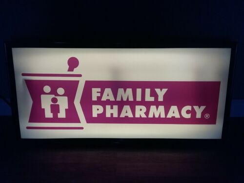 vintage FAMILY PHARMACY lighted sign. pharmacy advertising. Sign works