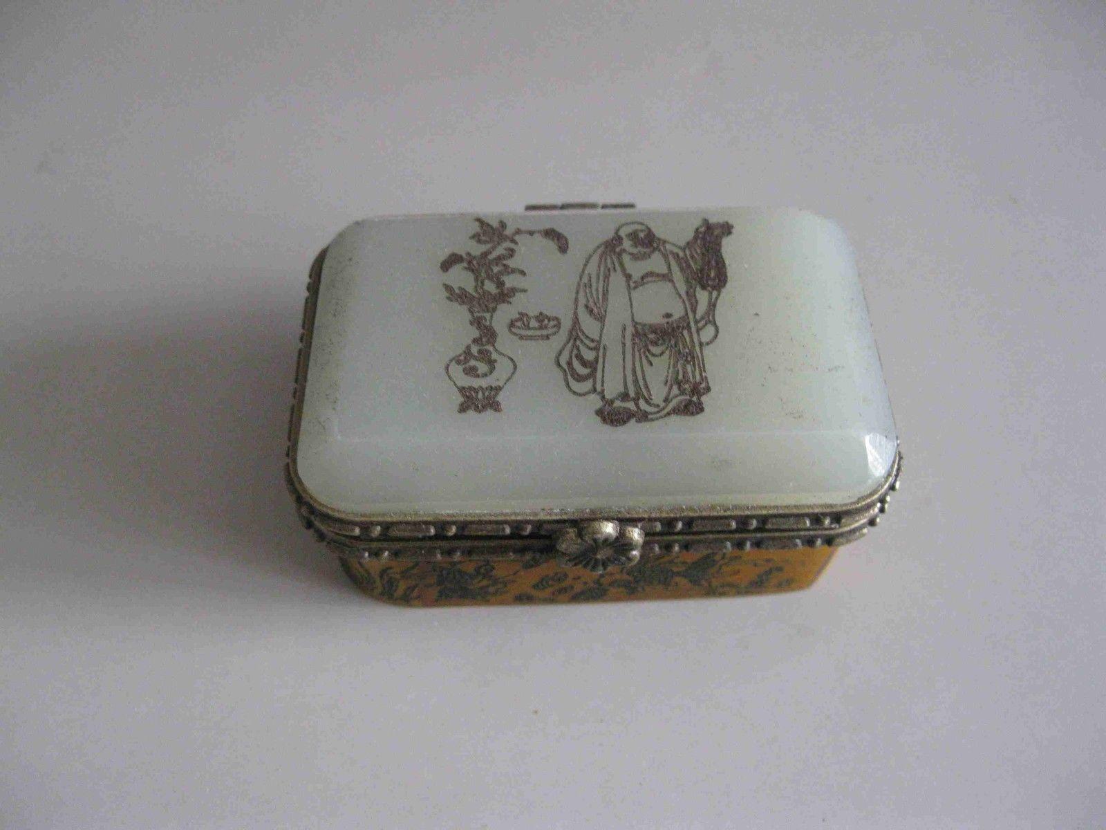 China Vintage Collectible Handwork Bone Inlay Jade Carving Horse Fish Jewel Box
