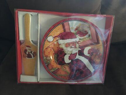 Christmas Plate and server New