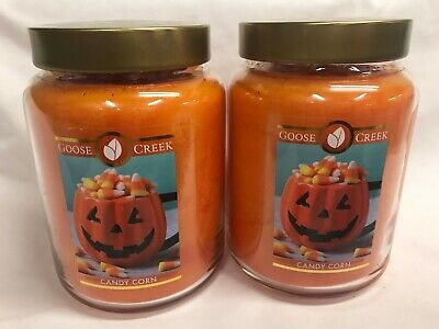 Lots Of Halloween Candy (Goose Creek Lot of (2) Halloween CANDY CORN Large 24 oz Jar Candle Two Wicks)