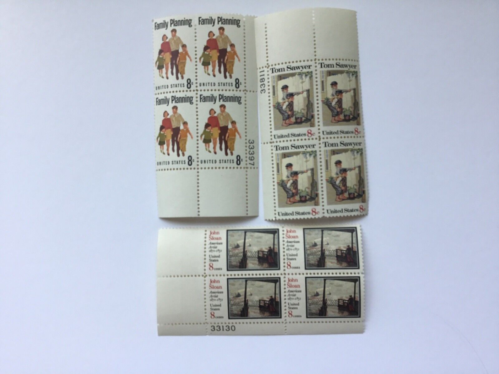 8 Cent Plate Block Stamps - $1.45