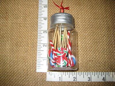 Mason Jar w Suckers Peppermint & Candy Canes Christmas Tree Ornament Plastic ()