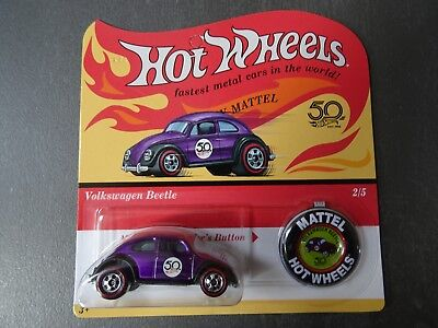 Hot Wheels Volkswagen Beetle - 50th Anniversary. Redline wheels + button / badge