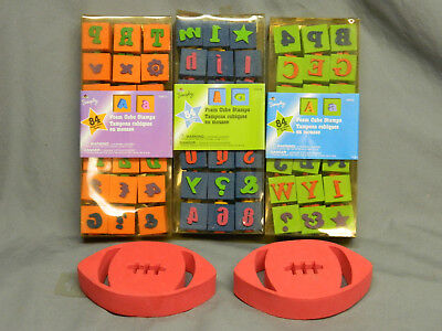Lot of 3 Plaid Simply Foam Cube Stamps & 2 Football Stamps