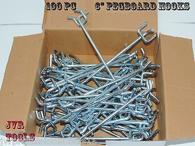 100pcs 6 Peg Board Hooks Shelf Hanger Kit 6 X 14 Garage Storage Hanging Set