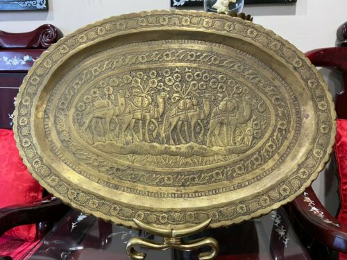 Antique Decorative Middle Eastern / Persian Art Hammer Engraved  Brass Tray
