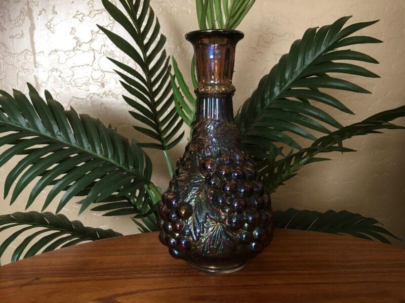 *Rare* Vintage Imperial Carnival Glass Amethyst Grape Wine Bottle Decanter