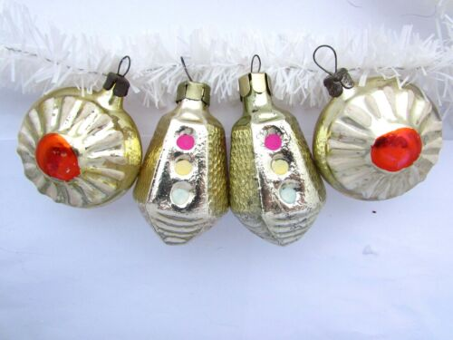 Lot of 4 Vintage USSR Russian Christmas XMAS New Year Glass Ornaments