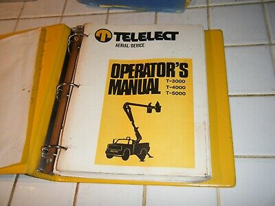 T5000 Telelect Arial Bucket Lift Truck Service Maintenance Parts Operator Manual