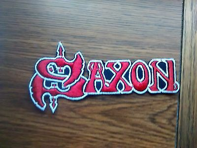 SAXON,IRON ON RED WITH WHITE EDGE EMBROIDERED PATCH